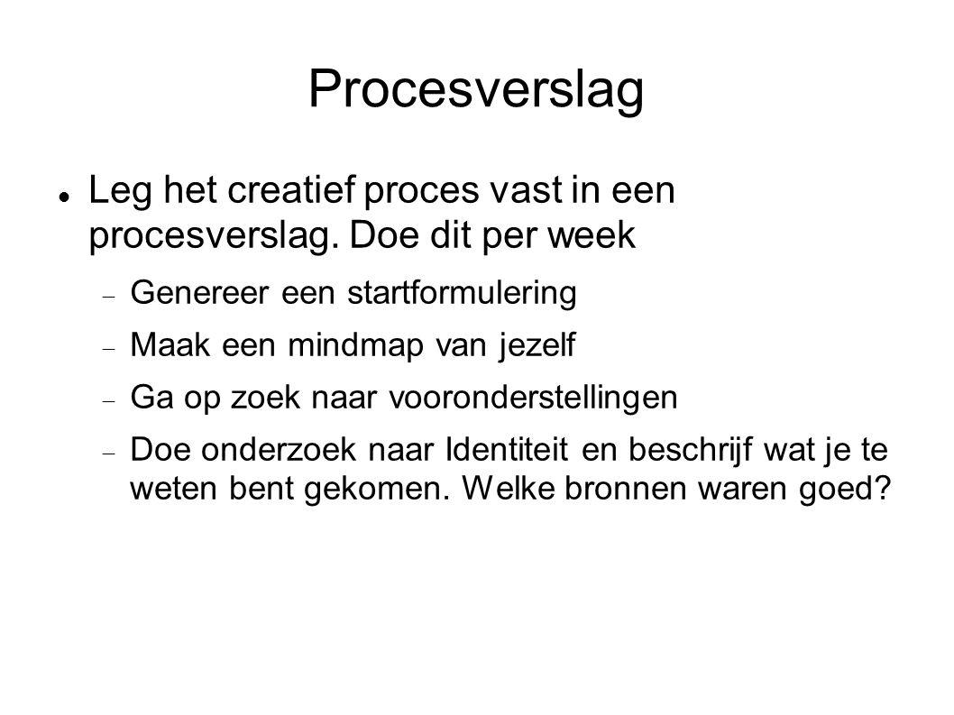 Procesverslag Leg het creatief proces vast in een procesverslag.