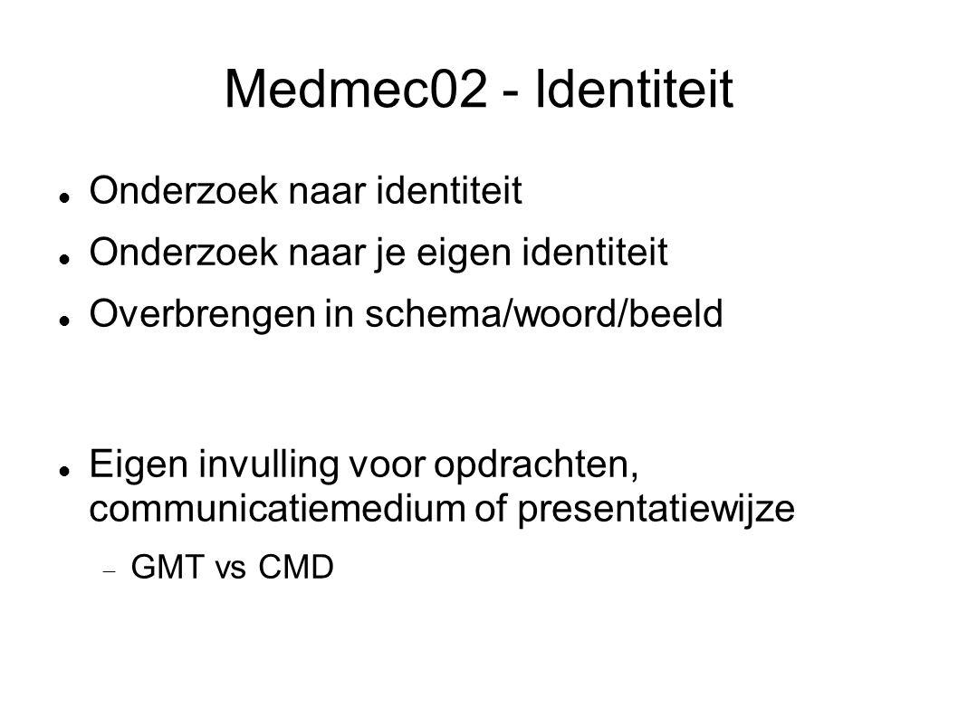 Medmec02 - Identiteit Onderzoek naar identiteit Onderzoek naar je eigen identiteit Overbrengen in schema/woord/beeld Eigen invulling voor opdrachten, communicatiemedium of presentatiewijze  GMT vs CMD