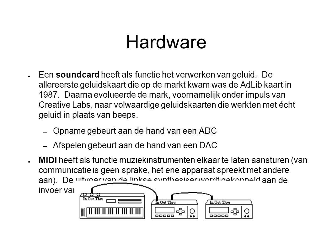 Hardware ● Een soundcard heeft als functie het verwerken van geluid. De allereerste geluidskaart die op de markt kwam was de AdLib kaart in 1987. Daar