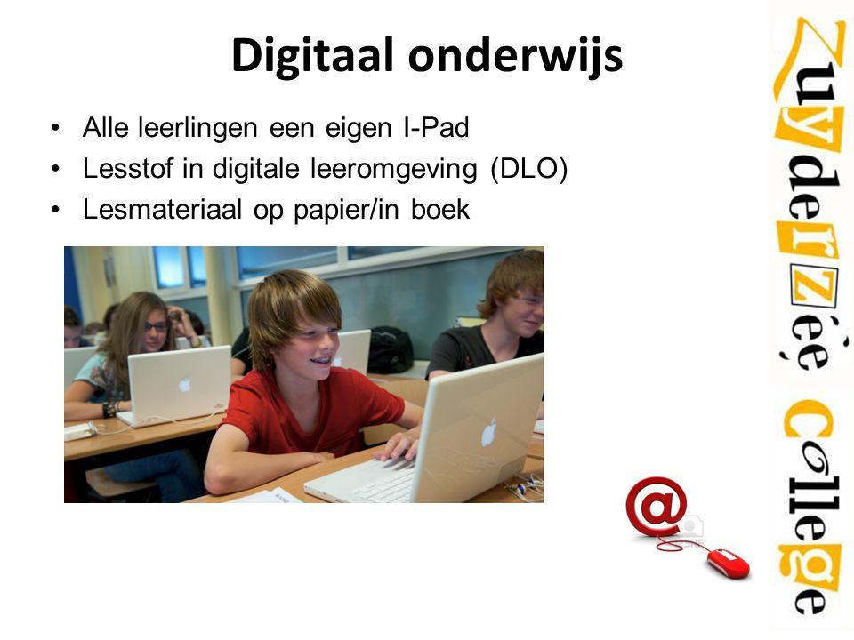 Digitaal onderwijs Alle leerlingen een eigen I-Pad Lesstof in digitale leeromgeving (DLO) Lesmateriaal op papier/in boek