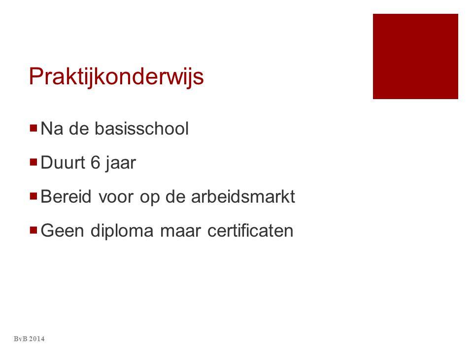 Praktijkonderwijs  Na de basisschool  Duurt 6 jaar  Bereid voor op de arbeidsmarkt  Geen diploma maar certificaten BvB 2014
