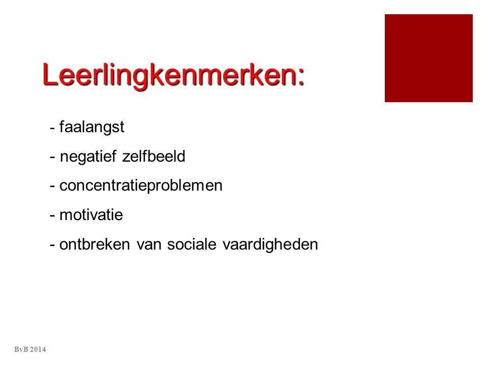 Leerlingkenmerken: - faalangst - negatief zelfbeeld - concentratieproblemen - motivatie - ontbreken van sociale vaardigheden BvB 2014