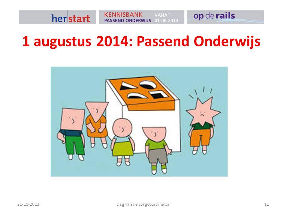 1 augustus 2014: Passend Onderwijs 21-11-2013Dag van de zorgcoördinator11