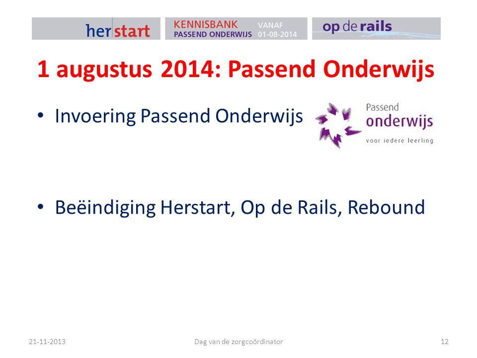 1 augustus 2014: Passend Onderwijs Invoering Passend Onderwijs Beëindiging Herstart, Op de Rails, Rebound 21-11-2013Dag van de zorgcoördinator12