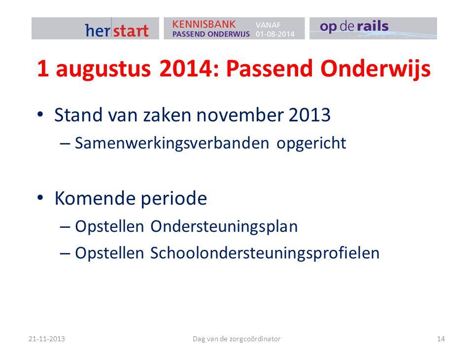 1 augustus 2014: Passend Onderwijs Stand van zaken november 2013 – Samenwerkingsverbanden opgericht Komende periode – Opstellen Ondersteuningsplan – O