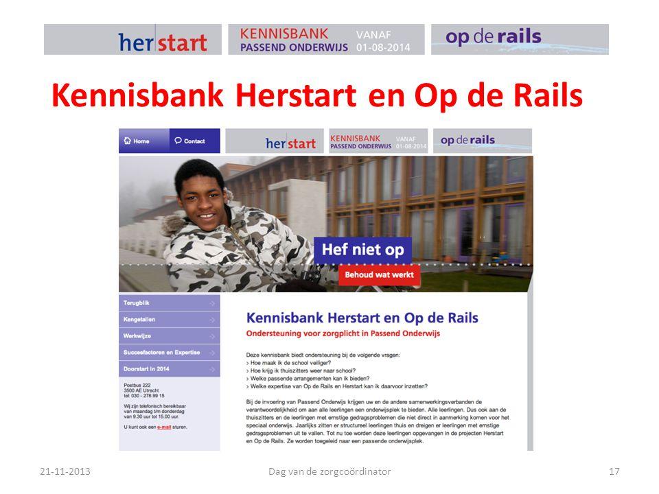 Kennisbank Herstart en Op de Rails 21-11-2013Dag van de zorgcoördinator17