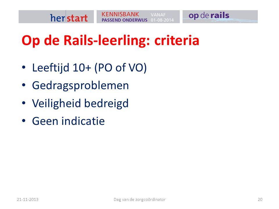Op de Rails-leerling: criteria Leeftijd 10+ (PO of VO) Gedragsproblemen Veiligheid bedreigd Geen indicatie 21-11-2013Dag van de zorgcoördinator20