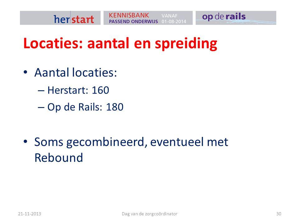 Locaties: aantal en spreiding Aantal locaties: – Herstart: 160 – Op de Rails: 180 Soms gecombineerd, eventueel met Rebound 21-11-2013Dag van de zorgcoördinator30