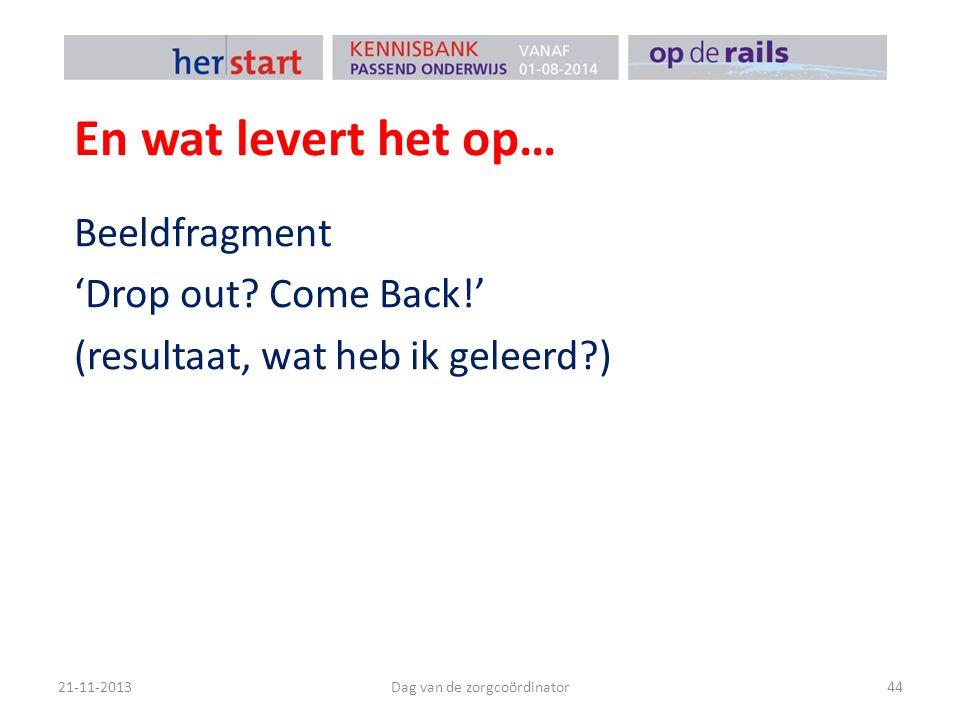 En wat levert het op… 21-11-2013Dag van de zorgcoördinator44 Beeldfragment 'Drop out? Come Back!' (resultaat, wat heb ik geleerd?)