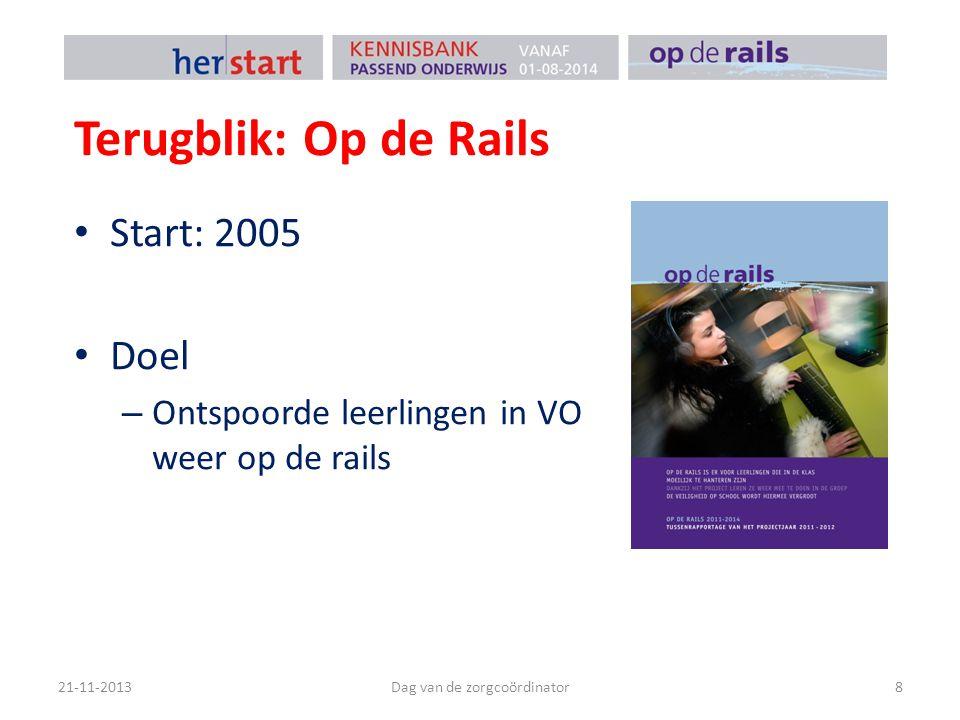 Terugblik: Op de Rails Start: 2005 Doel – Ontspoorde leerlingen in VO weer op de rails 21-11-2013Dag van de zorgcoördinator8