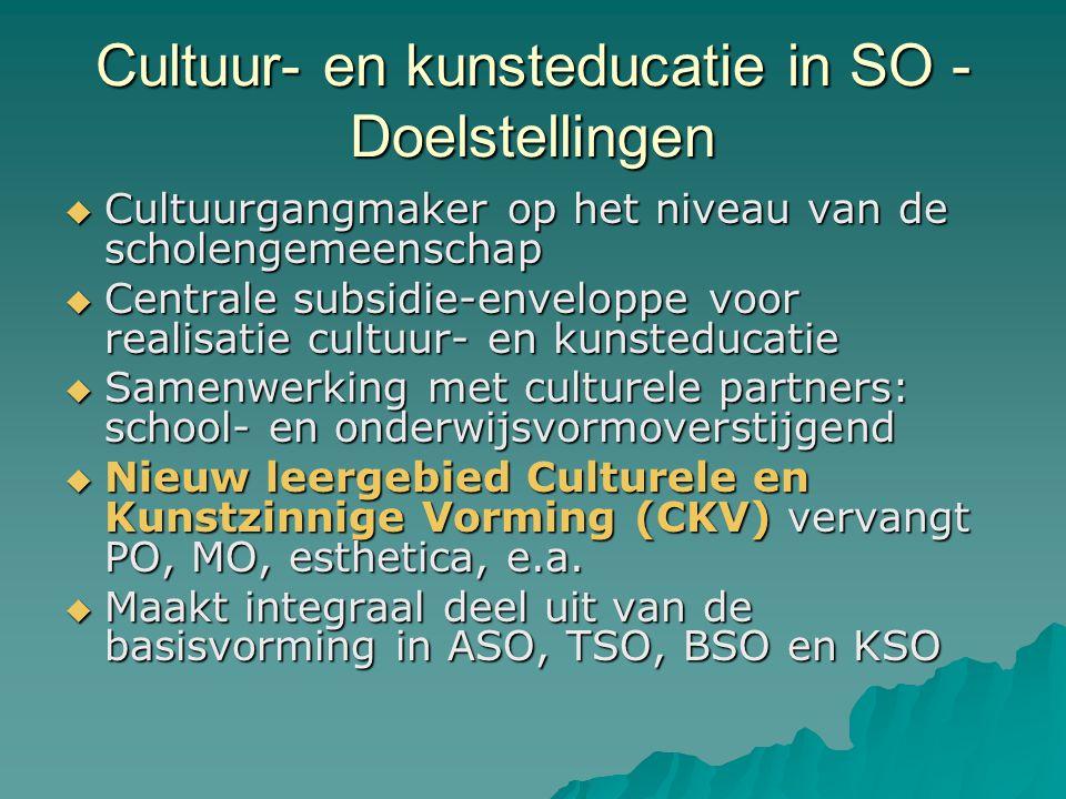 Cultuur- en kunsteducatie in SO – Acties voor de scholen  Scholen zetten, in samenwerking met culturele partners, concrete initiatieven op rond cultuur- en kunsteducatie (school- en onderwijsvormoverstijgend)  Scholen operationaliseren het leergebied CKV.