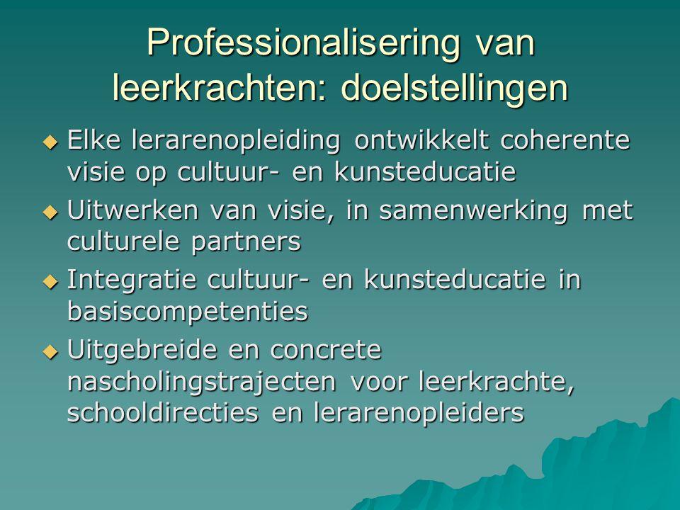 Missie en visie cultuur- en kunsteducatie  Continuë leerlijn: van kleuteronderwijs tot finaliteit secundair onderwijs  Voldoende middelen  Samenwerking met culturele instellingen op (inter)nationaal, Vlaams, regionaal en lokaal vlak