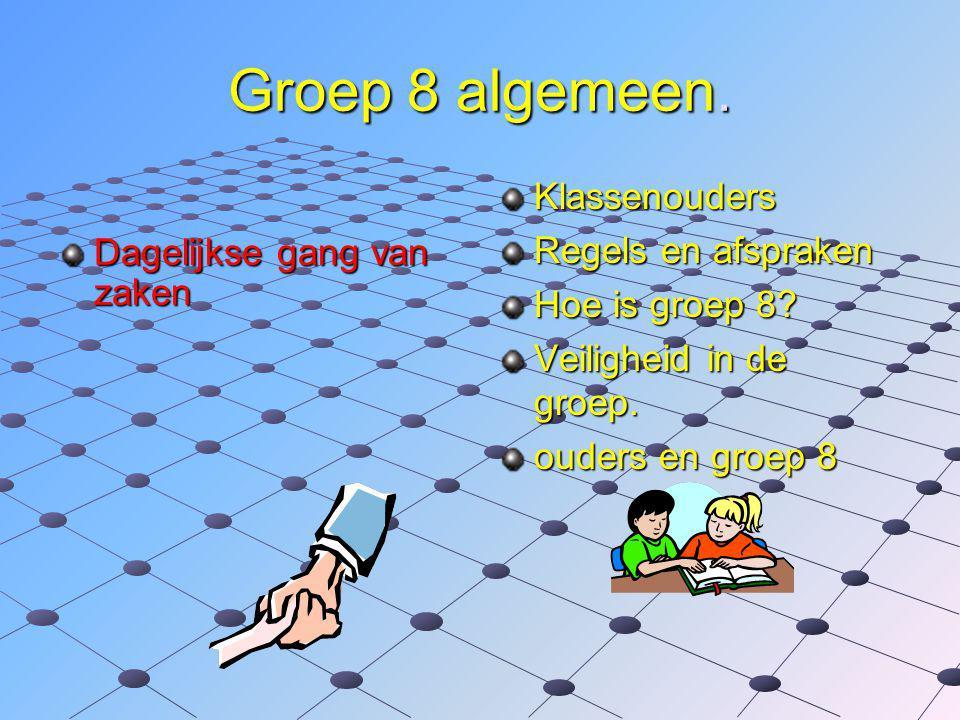 Groep 8 algemeen.Dagelijkse gang van zaken Klassenouders Regels en afspraken Hoe is groep 8.