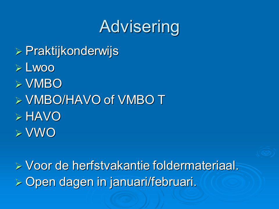 Advisering  Praktijkonderwijs  Lwoo  VMBO  VMBO/HAVO of VMBO T  HAVO  VWO  Voor de herfstvakantie foldermateriaal.