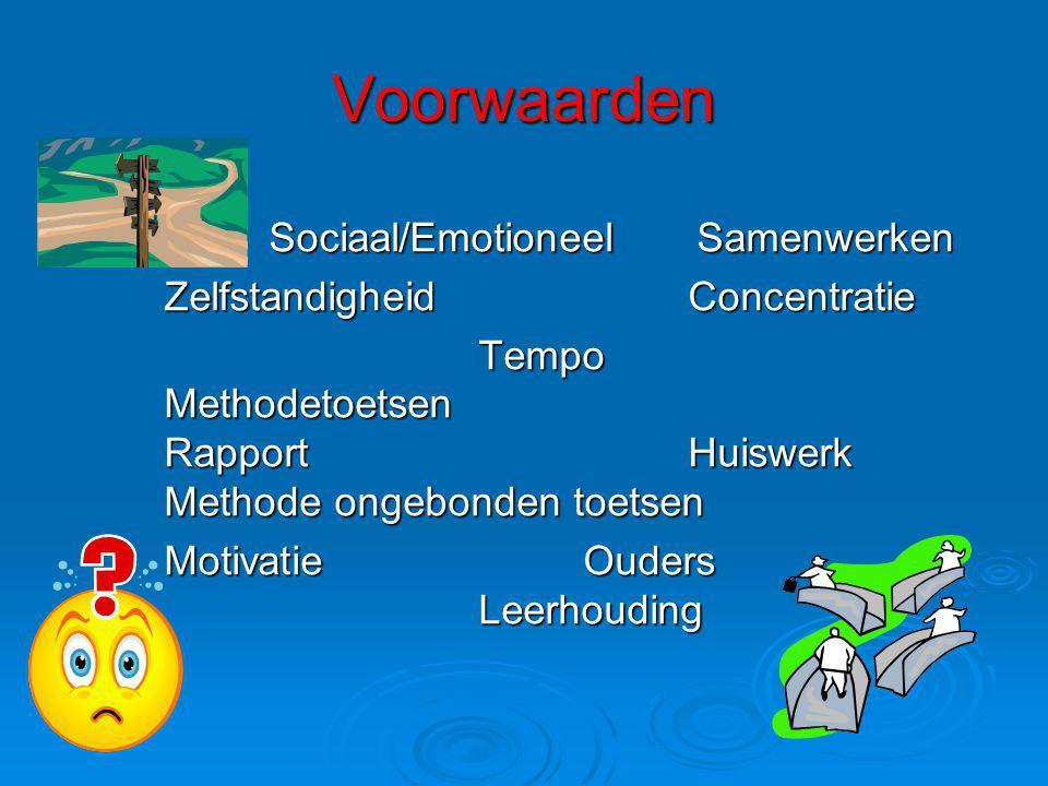 Voorwaarden Sociaal/Emotioneel Samenwerken ZelfstandigheidConcentratie Tempo Methodetoetsen RapportHuiswerk Methode ongebonden toetsen MotivatieOuders Leerhouding