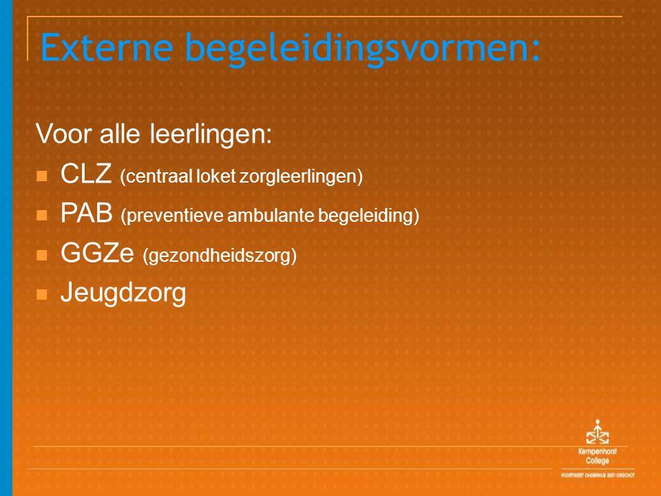 Externe begeleidingsvormen: Voor alle leerlingen: CLZ (centraal loket zorgleerlingen) PAB (preventieve ambulante begeleiding) GGZe (gezondheidszorg) J