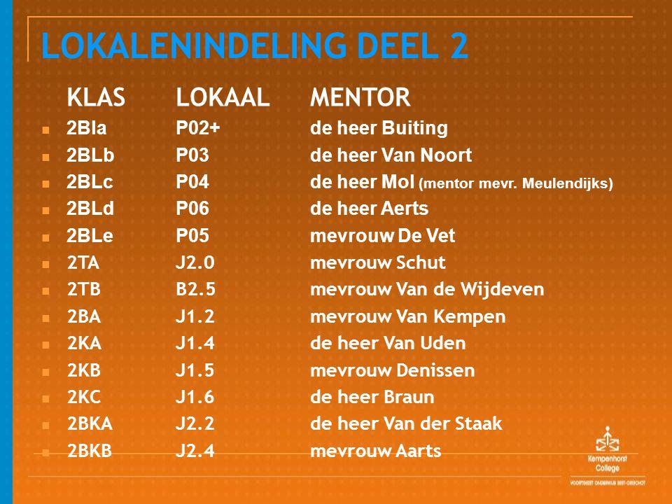 LOKALENINDELING DEEL 2 KLASLOKAAL MENTOR 2Bla P02+de heer Buiting 2BLbP03de heer Van Noort 2BLc P04de heer Mol (mentor mevr. Meulendijks) 2BLdP06de he