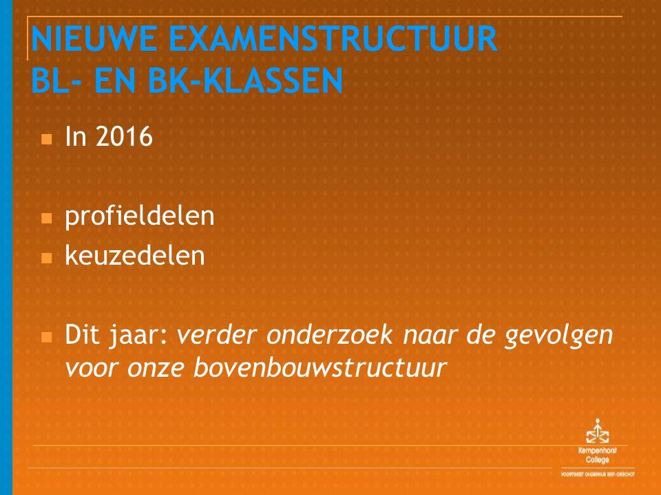 NIEUWE EXAMENSTRUCTUUR BL- EN BK-KLASSEN In 2016 profieldelen keuzedelen Dit jaar: verder onderzoek naar de gevolgen voor onze bovenbouwstructuur