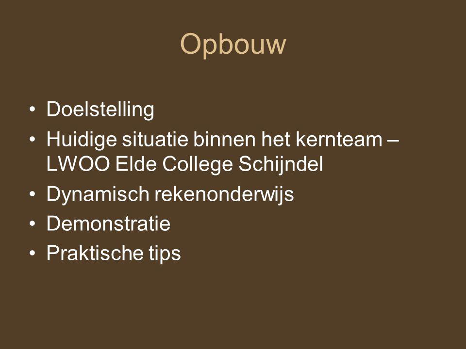 Opbouw Doelstelling Huidige situatie binnen het kernteam – LWOO Elde College Schijndel Dynamisch rekenonderwijs Demonstratie Praktische tips