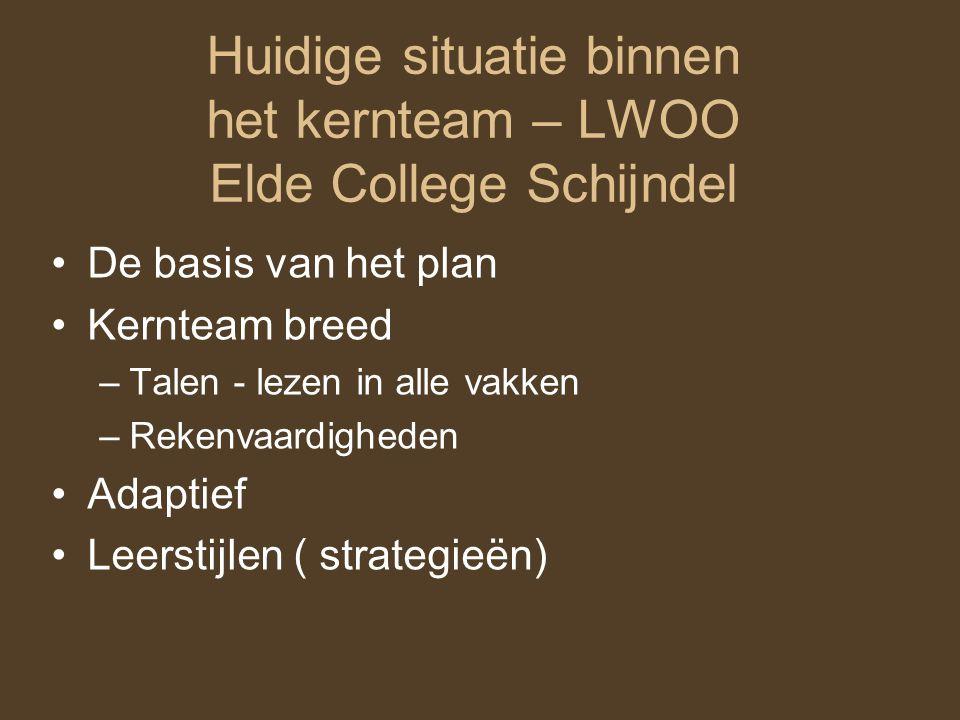 Huidige situatie binnen het kernteam – LWOO Elde College Schijndel De basis van het plan Kernteam breed –Talen - lezen in alle vakken –Rekenvaardigheden Adaptief Leerstijlen ( strategieën)