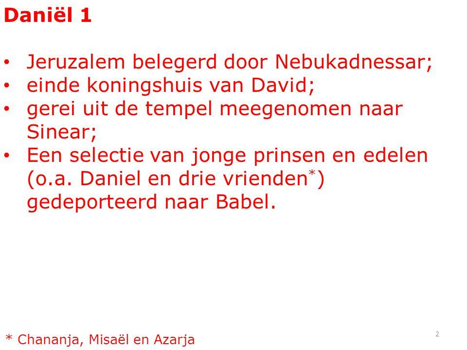 Daniël 1 Jeruzalem belegerd door Nebukadnessar; einde koningshuis van David; gerei uit de tempel meegenomen naar Sinear; Een selectie van jonge prinse