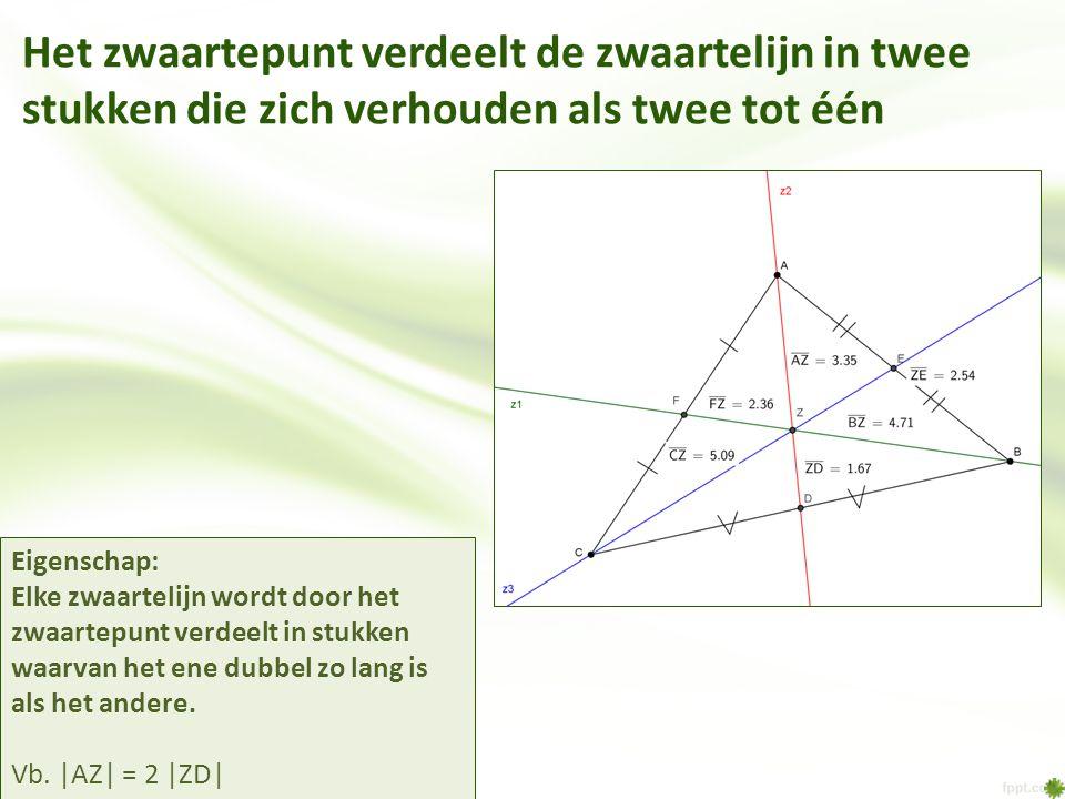 Het zwaartepunt verdeelt de zwaartelijn in twee stukken die zich verhouden als twee tot één Eigenschap: Elke zwaartelijn wordt door het zwaartepunt ve