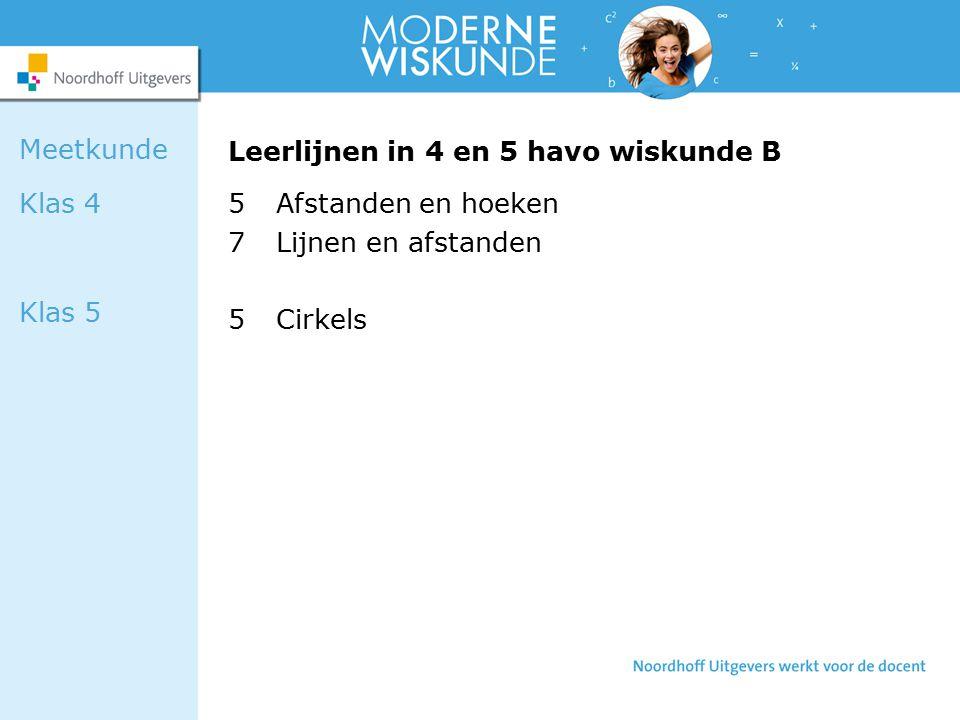 Leerlijnen in 4 en 5 havo wiskunde B 5Afstanden en hoeken 7Lijnen en afstanden 5Cirkels Meetkunde Klas 4 Klas 5