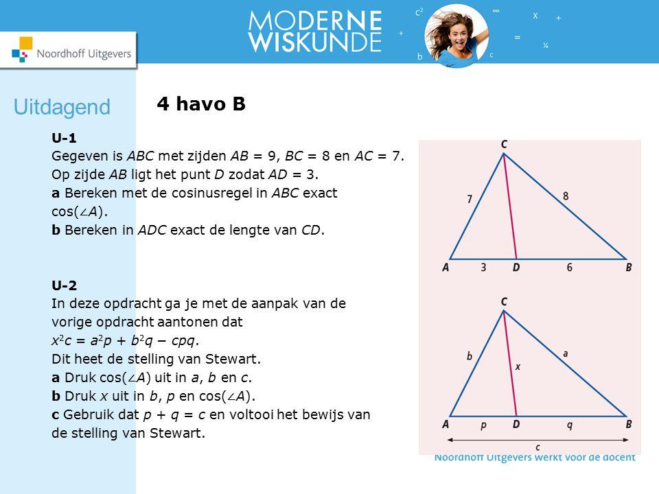 4 havo B U-1 Gegeven is ABC met zijden AB = 9, BC = 8 en AC = 7.