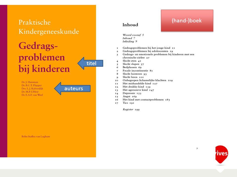 titel auteurs (hand-)boek