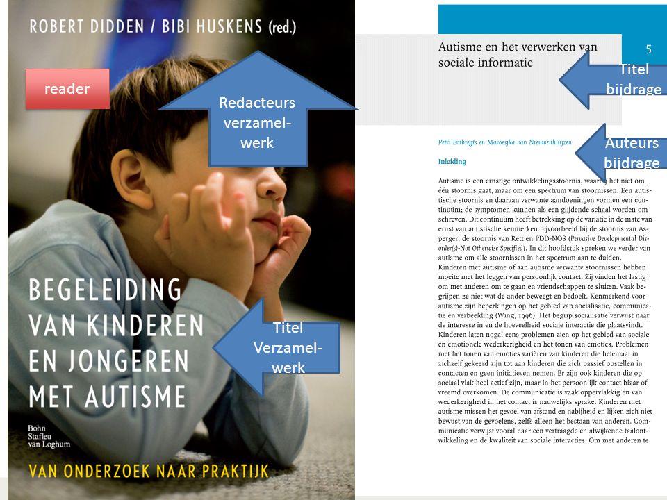 Auteurs bijdrage Redacteurs verzamel- werk Titel bijdrage Titel Verzamel- werk reader
