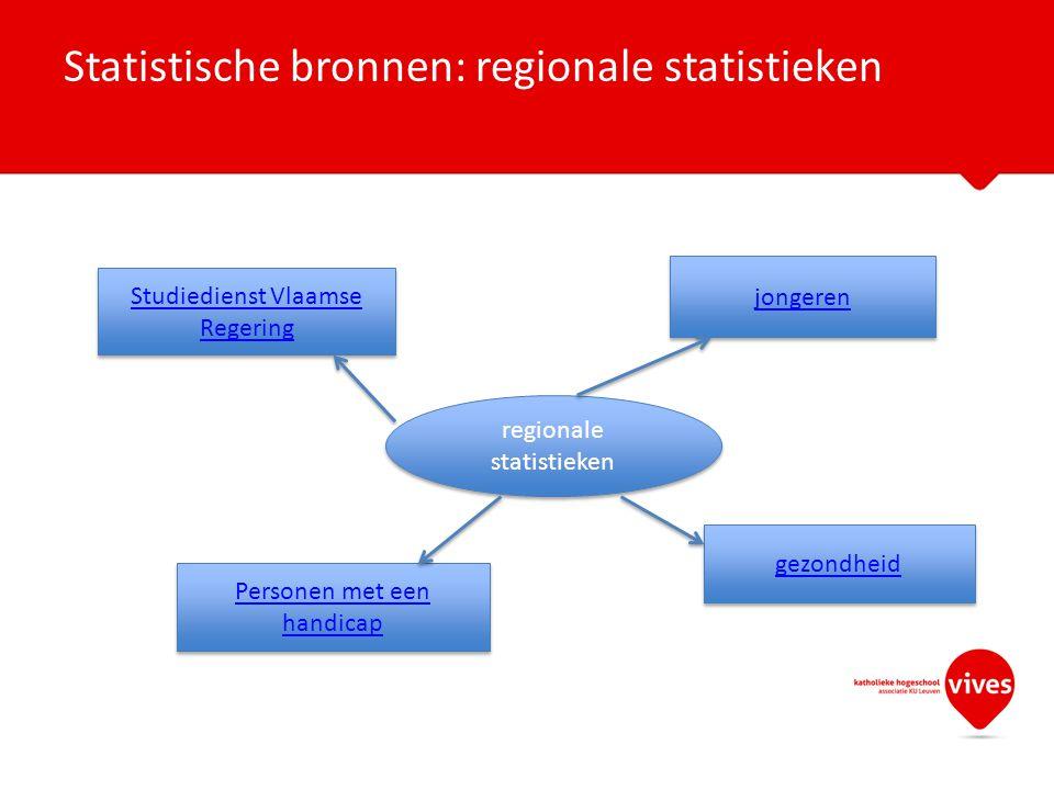 Statistische bronnen: regionale statistieken regionale statistieken Studiedienst Vlaamse Regering Studiedienst Vlaamse Regering jongeren Personen met