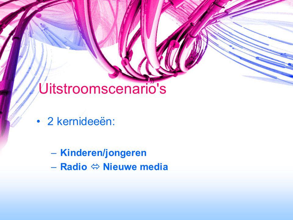 2 kernideeën: –Kinderen/jongeren –Radio  Nieuwe media Uitstroomscenario s