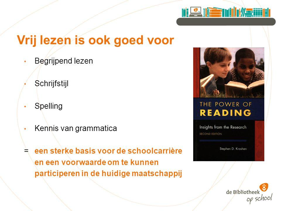 Begrijpend lezen Schrijfstijl Spelling Kennis van grammatica = een sterke basis voor de schoolcarrière en een voorwaarde om te kunnen participeren in de huidige maatschappij Vrij lezen is ook goed voor