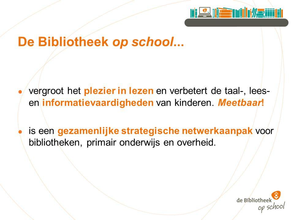 De Bibliotheek op school... ● vergroot het plezier in lezen en verbetert de taal-, lees- en informatievaardigheden van kinderen. Meetbaar! ● is een ge