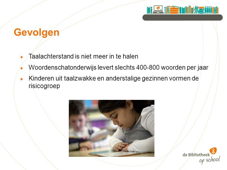 ● Taalachterstand is niet meer in te halen ● Woordenschatonderwijs levert slechts 400-800 woorden per jaar ● Kinderen uit taalzwakke en anderstalige g