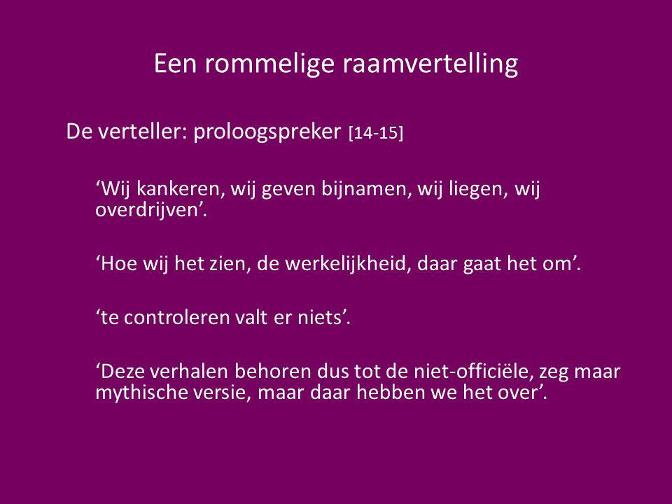 Een rommelige raamvertelling De verteller: proloogspreker [14-15] 'Wij kankeren, wij geven bijnamen, wij liegen, wij overdrijven'. 'Hoe wij het zien,