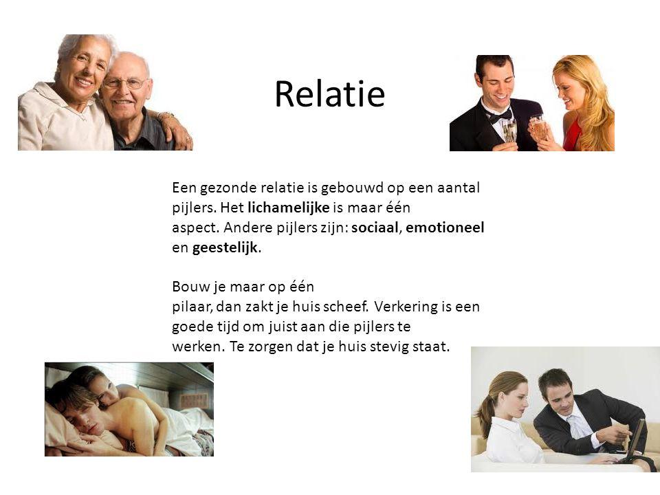 Relatie Een gezonde relatie is gebouwd op een aantal pijlers. Het lichamelijke is maar één aspect. Andere pijlers zijn: sociaal, emotioneel en geestel