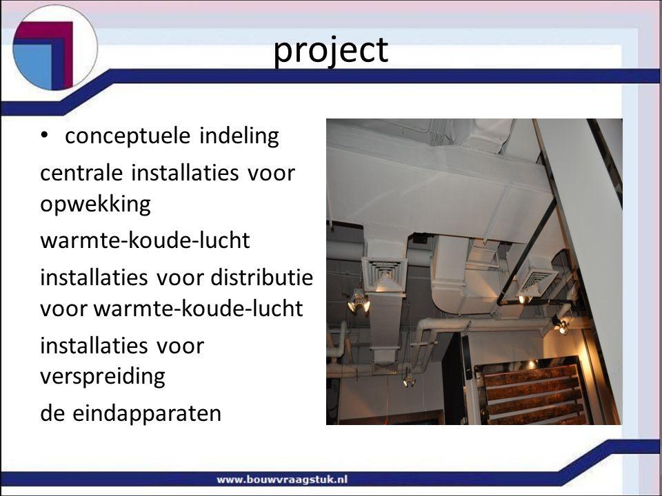 project conceptuele indeling centrale installaties voor opwekking warmte-koude-lucht installaties voor distributie voor warmte-koude-lucht installaties voor verspreiding de eindapparaten