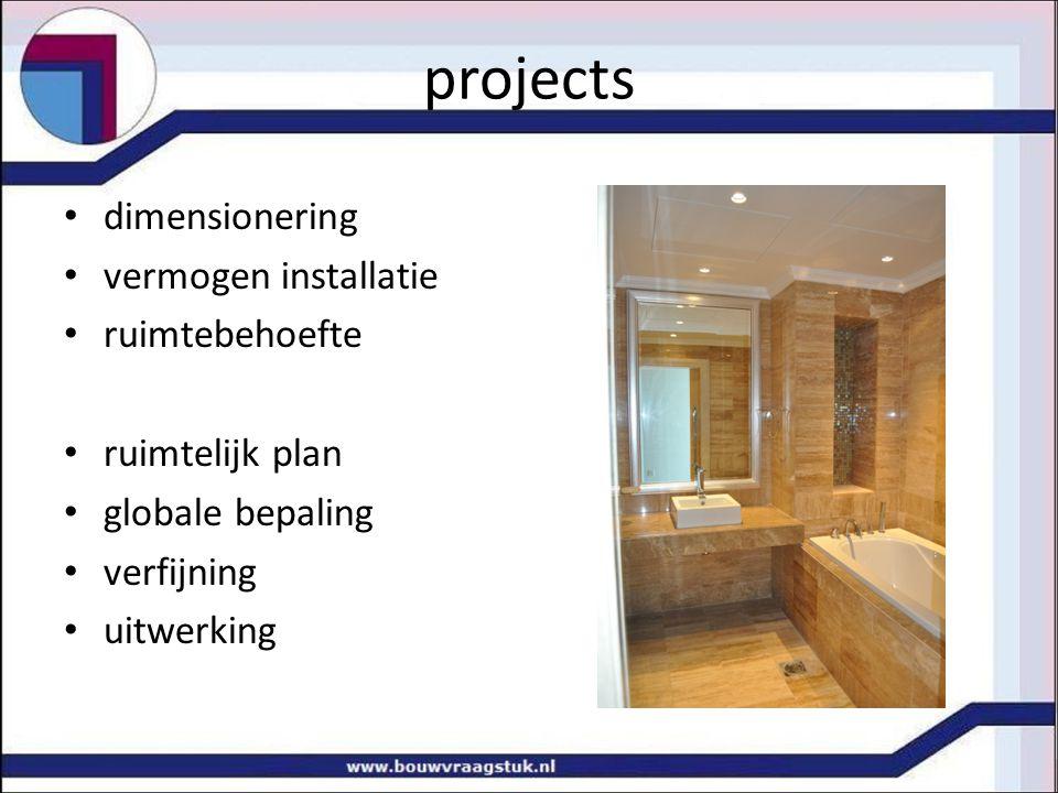 projects dimensionering vermogen installatie ruimtebehoefte ruimtelijk plan globale bepaling verfijning uitwerking
