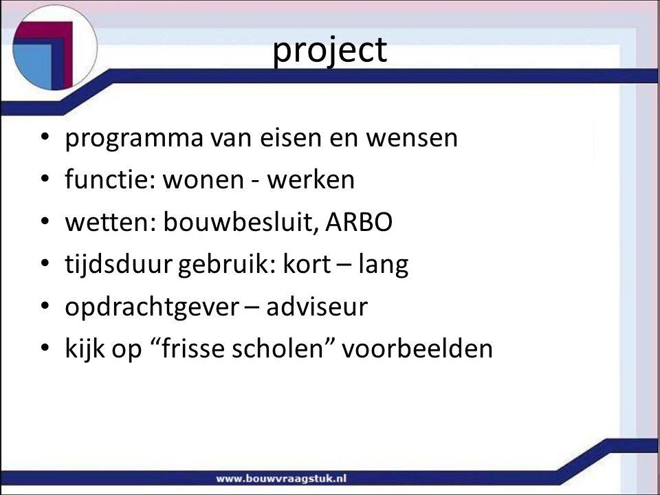 project programma van eisen en wensen functie: wonen - werken wetten: bouwbesluit, ARBO tijdsduur gebruik: kort – lang opdrachtgever – adviseur kijk op frisse scholen voorbeelden