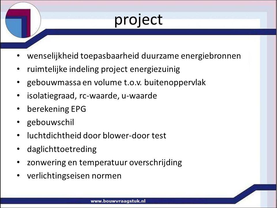 project wenselijkheid toepasbaarheid duurzame energiebronnen ruimtelijke indeling project energiezuinig gebouwmassa en volume t.o.v.