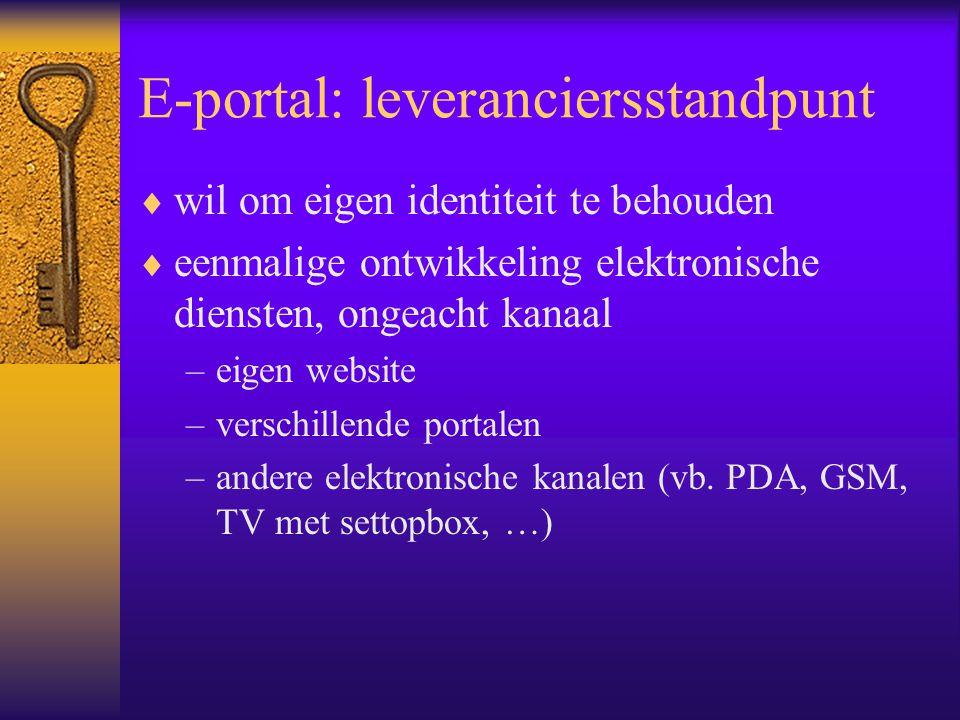 E-portal: leveranciersstandpunt  wil om eigen identiteit te behouden  eenmalige ontwikkeling elektronische diensten, ongeacht kanaal –eigen website –verschillende portalen –andere elektronische kanalen (vb.