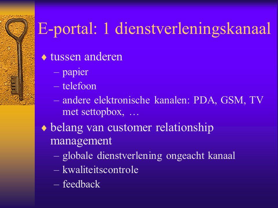 E-portal: 1 dienstverleningskanaal  tussen anderen –papier –telefoon –andere elektronische kanalen: PDA, GSM, TV met settopbox, …  belang van customer relationship management –globale dienstverlening ongeacht kanaal –kwaliteitscontrole –feedback