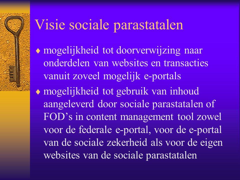 Visie sociale parastatalen  mogelijkheid tot doorverwijzing naar onderdelen van websites en transacties vanuit zoveel mogelijk e-portals  mogelijkheid tot gebruik van inhoud aangeleverd door sociale parastatalen of FOD's in content management tool zowel voor de federale e-portal, voor de e-portal van de sociale zekerheid als voor de eigen websites van de sociale parastatalen