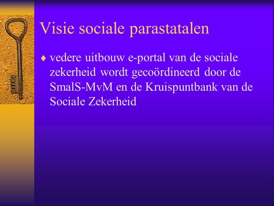 Visie sociale parastatalen  vedere uitbouw e-portal van de sociale zekerheid wordt gecoördineerd door de SmalS-MvM en de Kruispuntbank van de Sociale Zekerheid