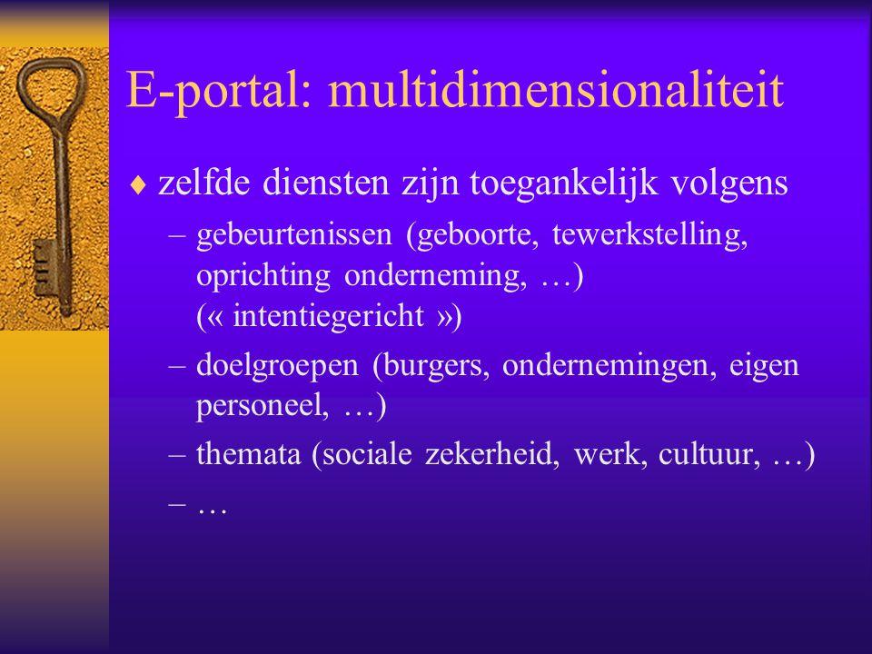 E-portal: multidimensionaliteit  zelfde diensten zijn toegankelijk volgens –gebeurtenissen (geboorte, tewerkstelling, oprichting onderneming, …) (« intentiegericht ») –doelgroepen (burgers, ondernemingen, eigen personeel, …) –themata (sociale zekerheid, werk, cultuur, …) –…