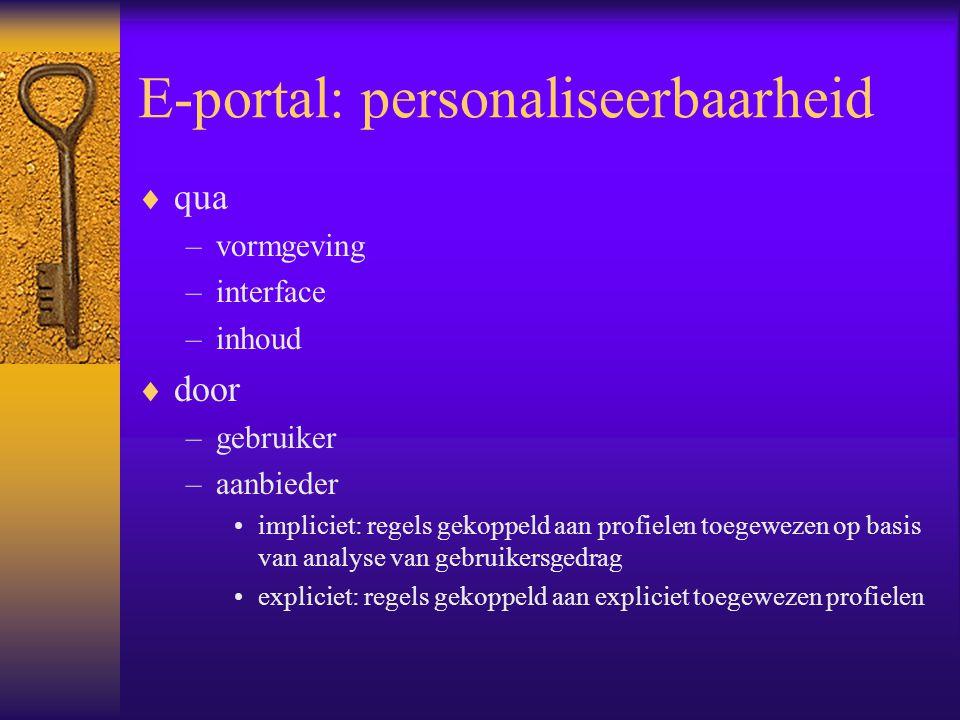 E-portal: personaliseerbaarheid  qua –vormgeving –interface –inhoud  door –gebruiker –aanbieder impliciet: regels gekoppeld aan profielen toegewezen op basis van analyse van gebruikersgedrag expliciet: regels gekoppeld aan expliciet toegewezen profielen
