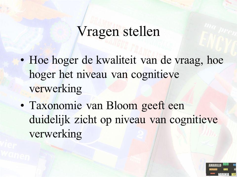 Hoe hoger de kwaliteit van de vraag, hoe hoger het niveau van cognitieve verwerking Taxonomie van Bloom geeft een duidelijk zicht op niveau van cognit