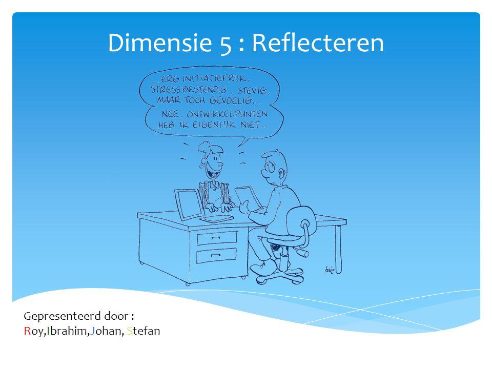 Dimensie 5 : Reflecteren Gepresenteerd door : Roy,Ibrahim,Johan, Stefan