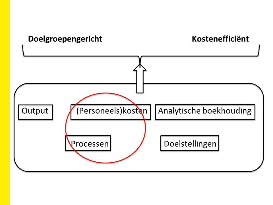 Output(Personeels)kostenAnalytische boekhouding ProcessenDoelstellingen DoelgroepengerichtKostenefficiënt